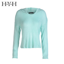 HYH HAOYIHUI V-neck Long sleeved Sweater Sky Blue Exposed Umbilical Autumn Women Ladies sexy Slim Hooded Pullover Tops Casual