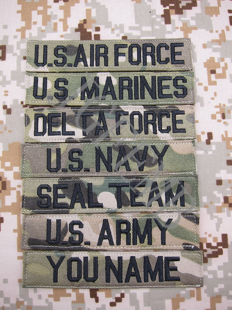 Huruf hitam Multicam Custom Name tapes Chest Tapes Services Tapes moral taktikal tentera Embroidery patch Lencana