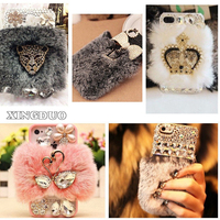 For Huawei P8 P9 Lite Case Rhinestone Diamond Soft Warm Rabbit Furry Back Case For Xiaomi