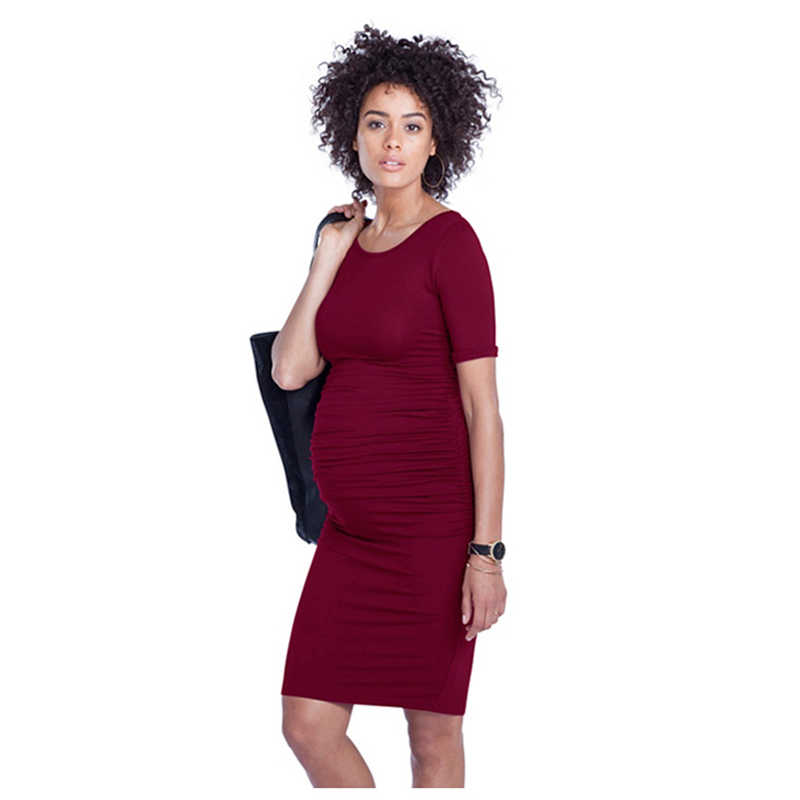 79a04e027ee4a ... Short Sleeve Maternity Dresses Lycra Clothes For Pregnant Women Summer Pregnancy  Clothing Maternity Clothes Solid Belly
