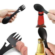 5 in 1 Multi-functional Outdoor Tools Stainless Steel Camping Survival EDC Kit Practical Fork Knife Spoon Bottle/Can Opener(China)