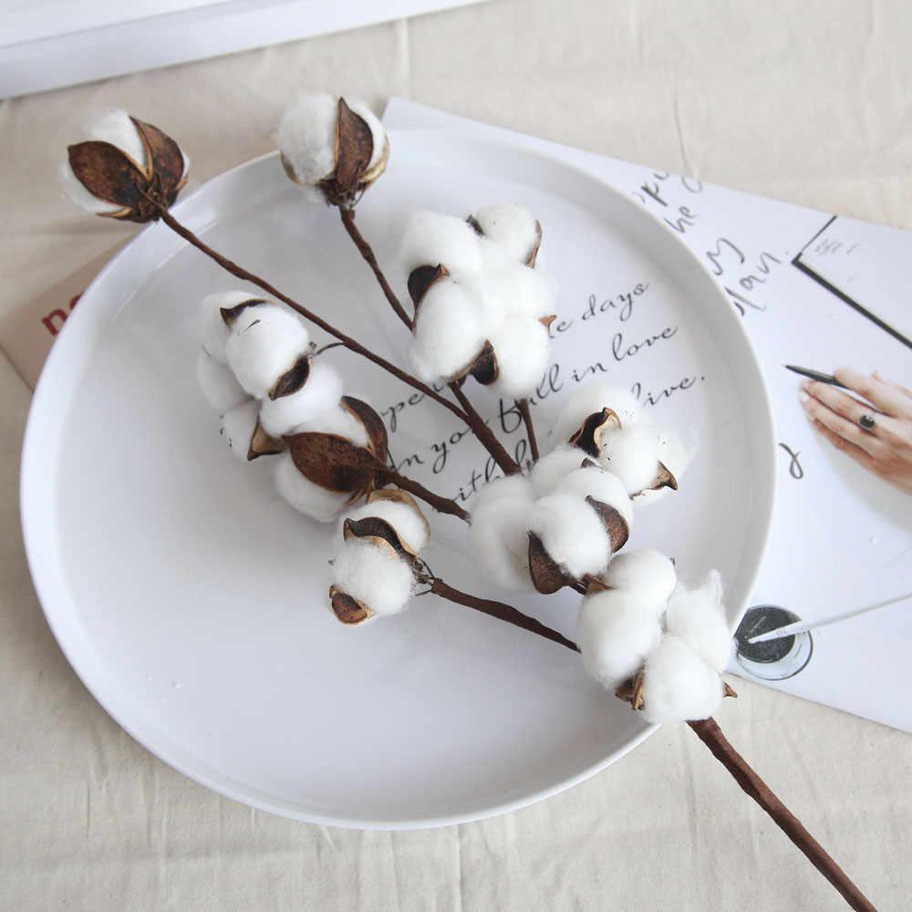 Branche Fleur De Coton branche florale de plantes artificielles de fleur de coton naturellement  séchée pour la décoration de fête de mariage