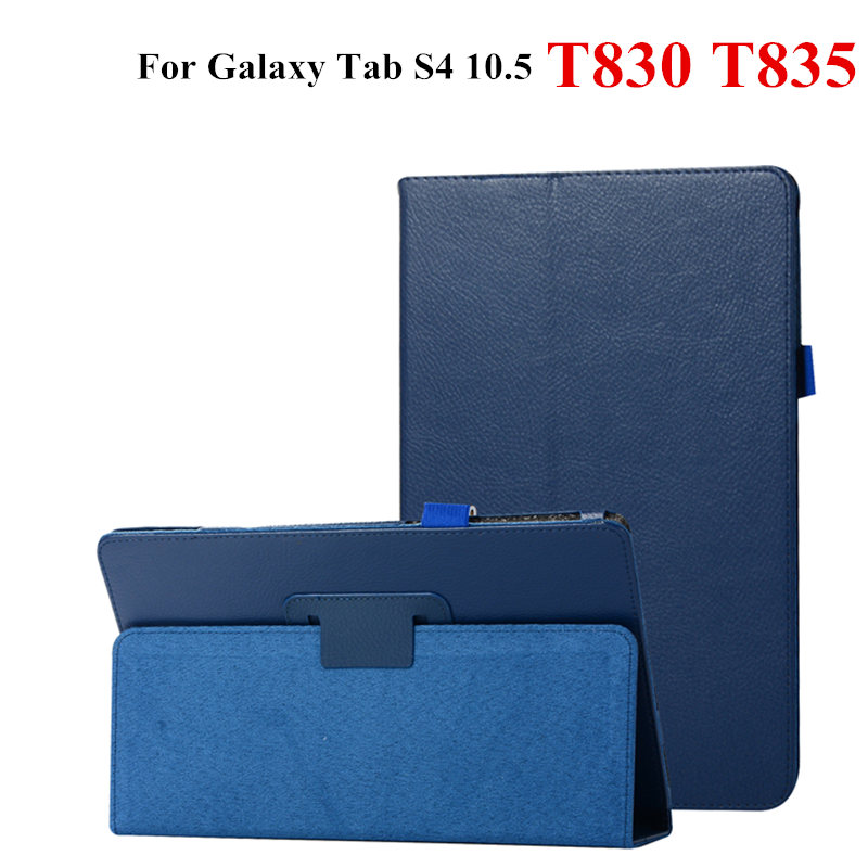 Luxury Lichee Flip With stand PU Leather Case For Samsung Galaxy Tab S4 10.5 T830 SM-T835 T835 10.5'' 2018 Tablet PC Book Cover