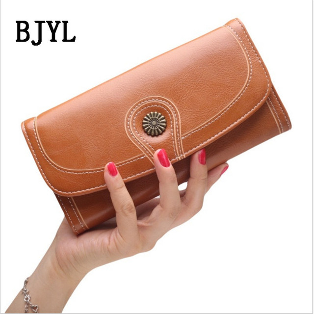 9af3064ae4df US $13.5 |New Vintage Button Phone Purses Women Wallets Female Purse  Leather Brand Retro Ladies Long Zipper Woman Wallet Card Clutch-in Wallets  from ...