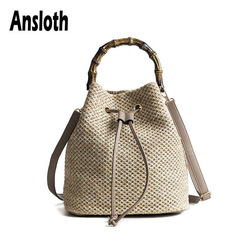 Женская сумка-ведро anlith, плетеная сумка ручной работы из ротанга, HPS479, для пляжа, на лето, 2019