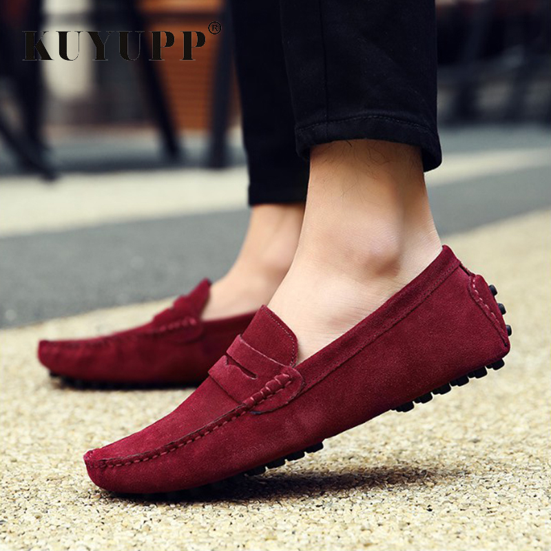 Hot Sale Slip on Men Casual Peas Shoes Male Flat Leather Loafers Zapatos Hombre Fashion Soft Mans Four Seasons Footwear KET614