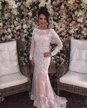 elegant hijab evening dresses 2017 long sleeve women pageant gown appliques lace slim foraml party gown vestido