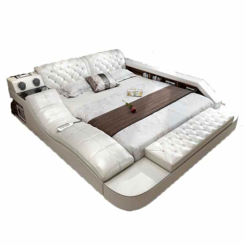 American hot sell  bedroom furniture Multi-functional genuine leather adjustable bed
