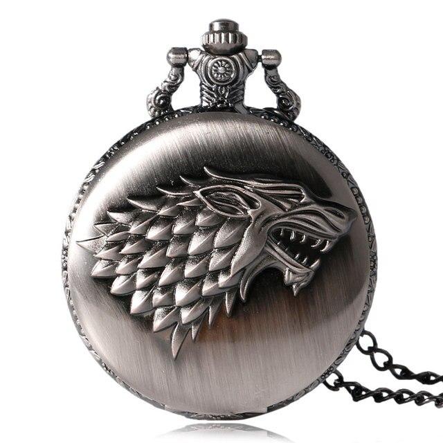Retro Game of Thrones Stark House Crest Wolf Silver Bronze Quartz Pocket Watch C