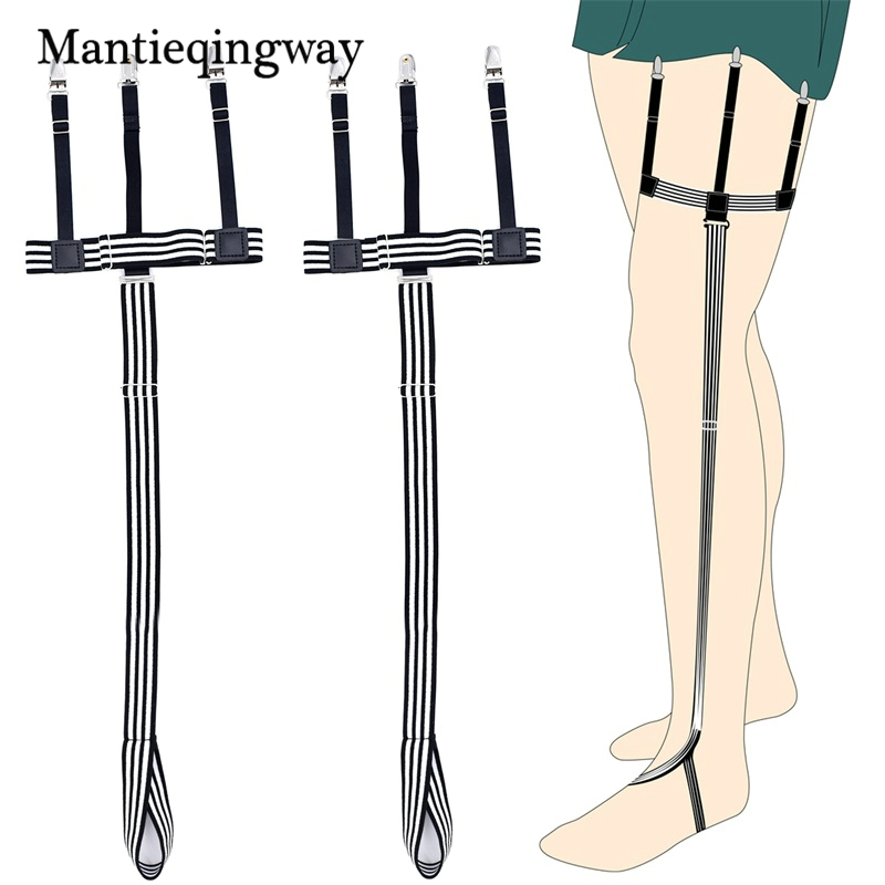 Mantieqingway Mens Shirt Stays Garters Holder Adjustable Shirt Holders Suspensorio For Male Tirantes Hombre Gentlemen Leg Holder Skilful Manufacture Men's Accessories Men's Suspenders