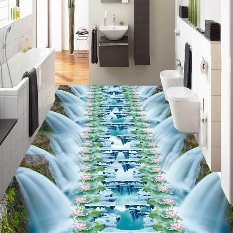 Free Shipping Waterfall Lotus Bath Kitchen Walkway 3D self-adhesive non-slip wear waterproof Floor wallpaper mural