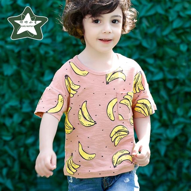 Baby Boy Симпатичные Банан Pattern Футболка Дети Хлопок Одежда дети Летом Случайные Тройники Детские Топ-Малыш Мальчик С Коротким Рукавом футболка