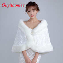 2018 New Arrival Wedding Bolero Cheap Faux Shawl Winter Bridal Jackets Accessories White Bridal Jacket Off The Shoulder In Stock