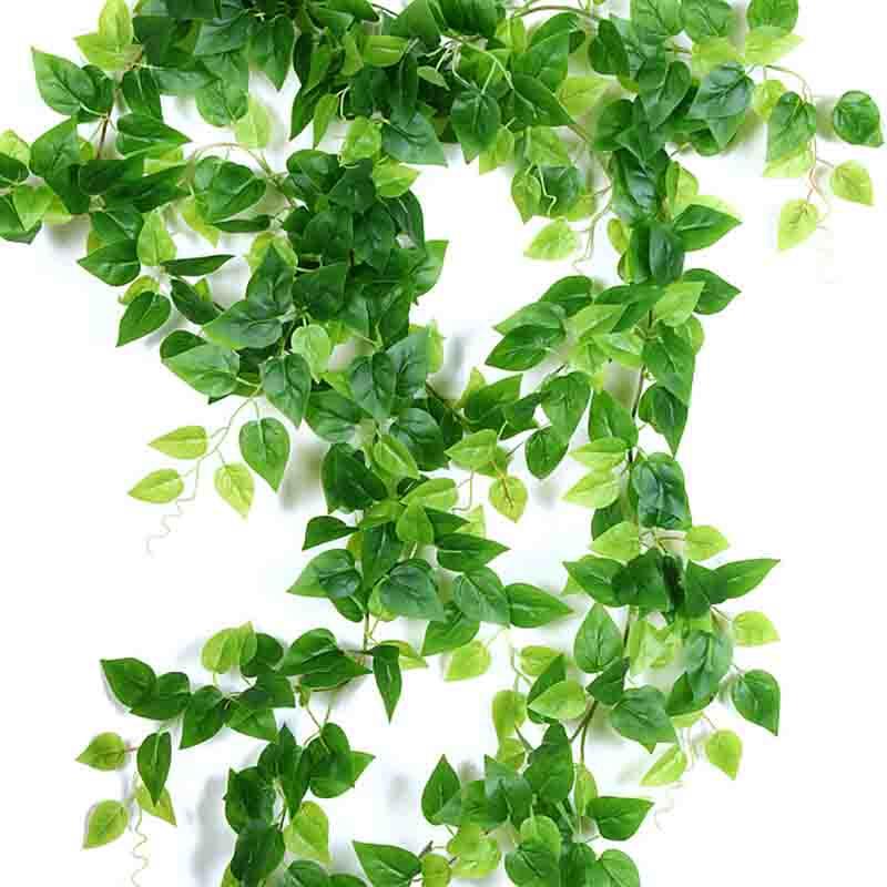 220CM Artificial Ivy green Leaf Garland Plants Vine Fake Foliage Flowers Home Decor Plastic Artificial Flower Rattan string(China)