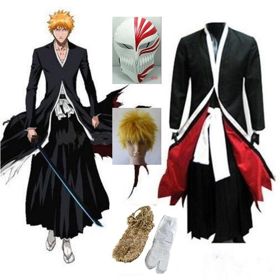 Anime Bleach Cosplay Ichigo Kurosaki Bankai Hollow Mask Wig Men Halloween Cosplay Costum ...