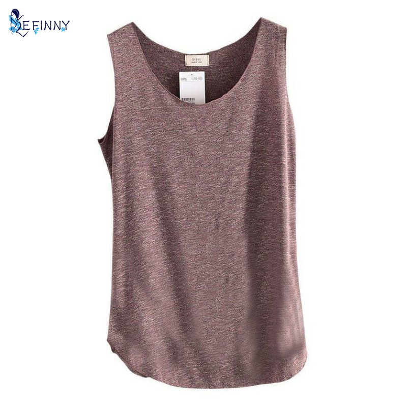 Kvinners U-Neck Beach Vest Sommer Loose Bamboo Cotton Tops T-skjorte Tee
