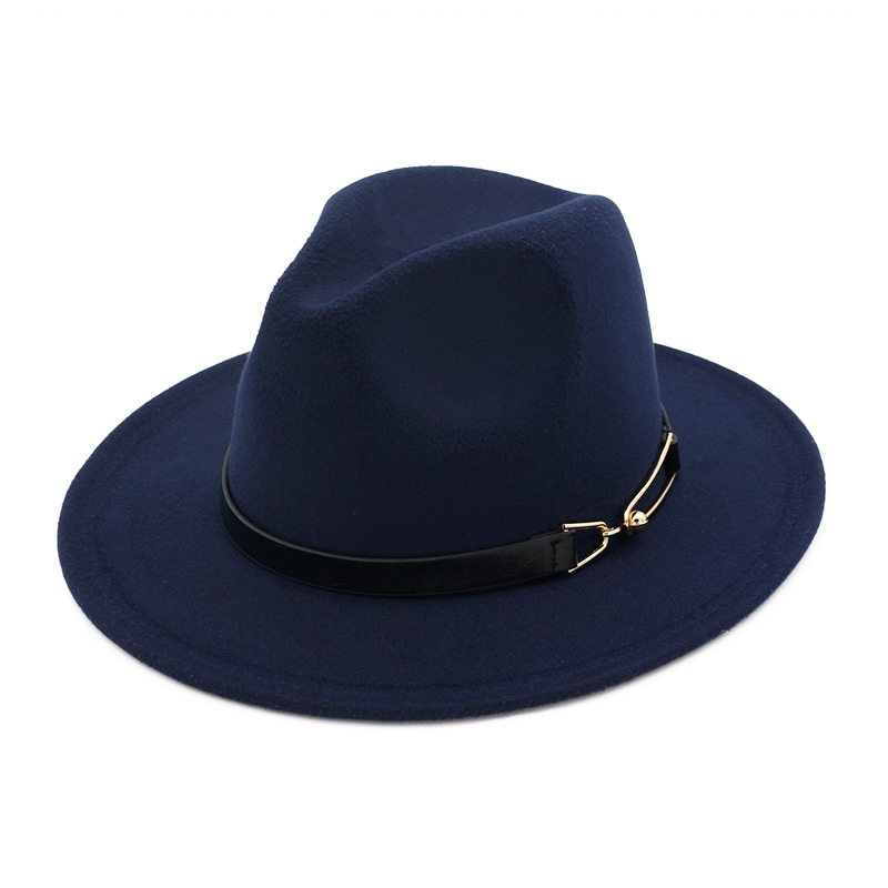 Wide Brim Autumn Female Fashion Top Jazz Cap Winter Fashion Wool Fedora Hat For Women Chapeau Femme Black Hats For Men MNDJSTK