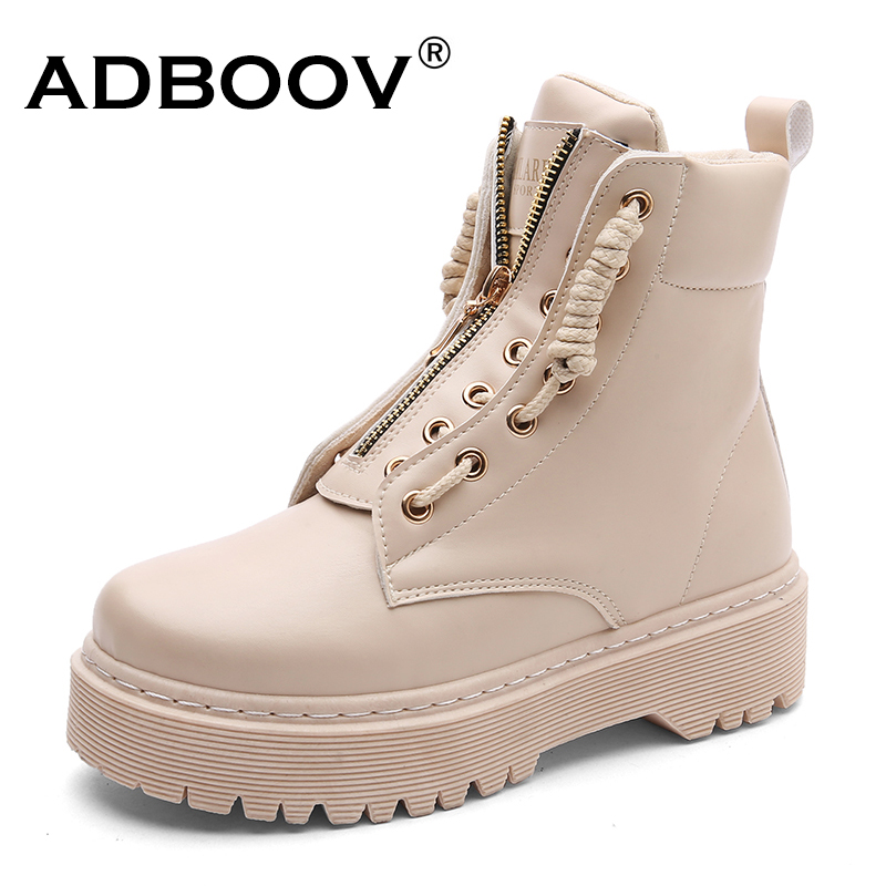 ADBOOV Zip Flat Ankle Boots Women PU Leather Motorcycle Boots Platform Martens Boots Fall Winter Shoes