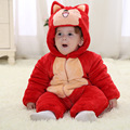 2015 Hot sale winter baby clothes new cotton flannel lining quilted cartoon animal footies baby clothing