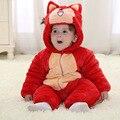 2015 venta Caliente ropa de bebé de invierno nueva forro de franela de algodón acolchado ropa de bebé de la historieta animal footies