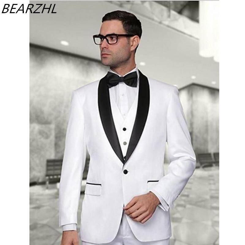 wedding suits dinner tuxedos white custom made groom wear 2019 shawl collar wear