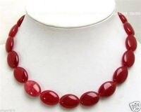 جميلة! 13x18 ملليمتر الأحمر شقة البيضاوي الخرز جوهرة الحجر قلادة 18 inch> بالجملة شحن مجاني 100% الطبيعية مجوهرات
