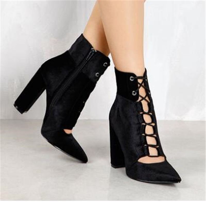Hot Selling Women Fashion Pointed Toe Black Velvet Chunky Heel Short Boots Cut-out High Heel Thick Heel Ankle Booties цена