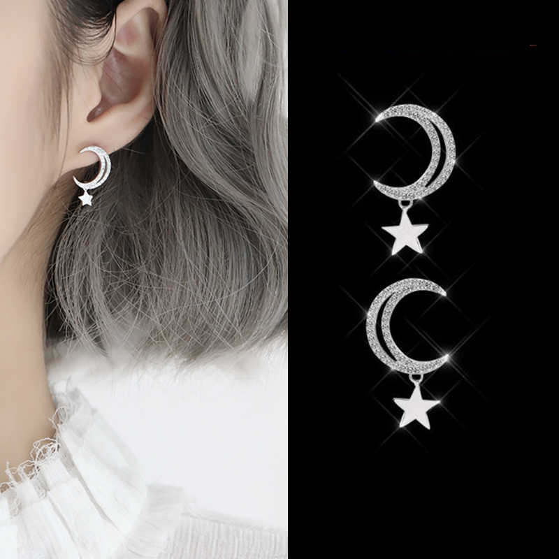 108a8ea45 New Shinny Cubic Zircon Star Moon Earrings For Women Fashion Gold & Silver  Color CZ Crystal