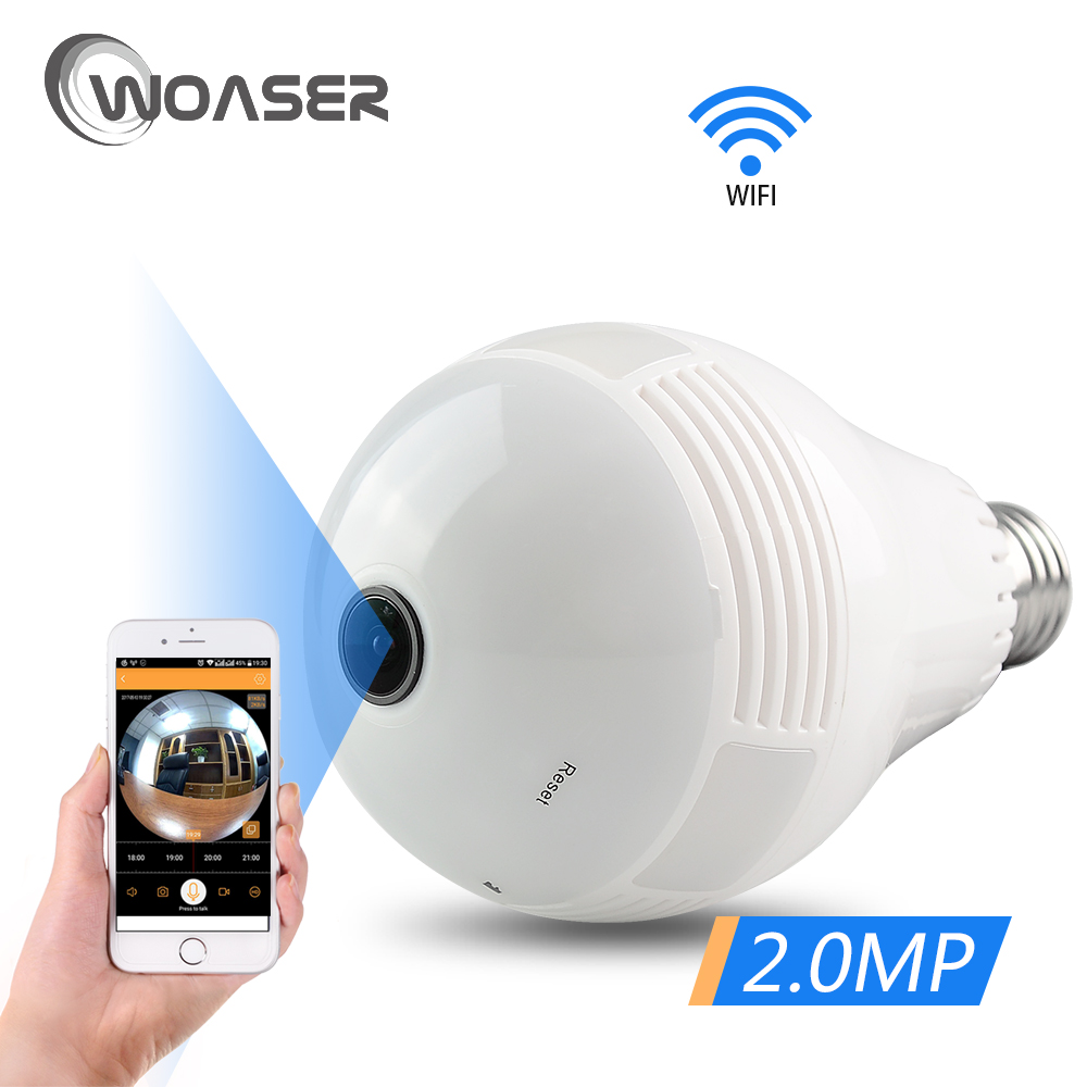 цена WOASER Bulb Light 1080P Wireless IP Camera Wi-fi FishEye 360 degree Mini CCTV VR Camera 2MP Home Security WiFi Camera Panoramic