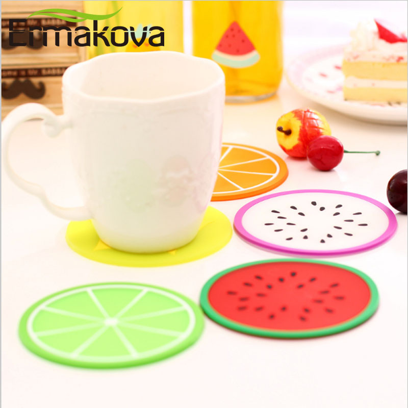 ERMAKOVA Coaster Non-Slip Drink Coaster Cup Mat Cut Fruit Coffee Teacup Pad Heatproof Table Mat Pad for Mug and Cup