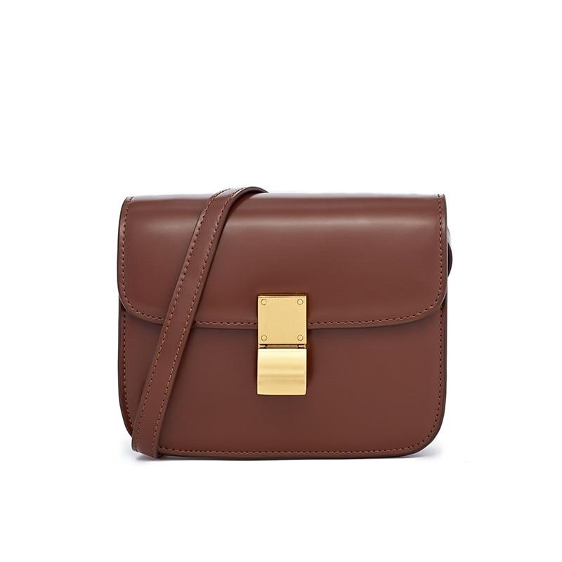 LOEIL Ladies' small square bag new tide tofu small square bag shoulder slung retro caramel color BOX casual wild women's bag