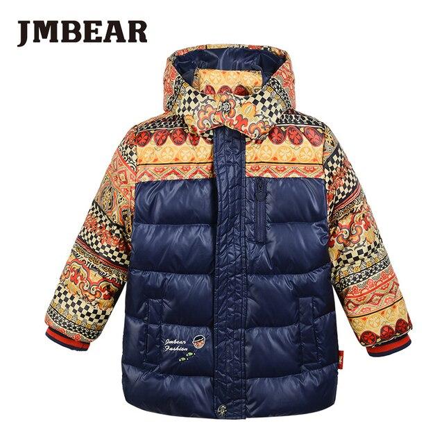 JMBEAR boy down coat  winter jacket kids snowsuit  hooded children's thick warm wear children outerwear 2-6 years