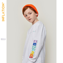 INFLATION KIDS 2019 Autumn Boys Long Sleeve Tshirt O-Neck Top Tee Children White Color Thin ST921