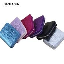 Crocodile Pattern Leather Women Card Holder Wallets Small Female Pillow Purse Fashion Zipper Credit Card Bag Zipper Card Case