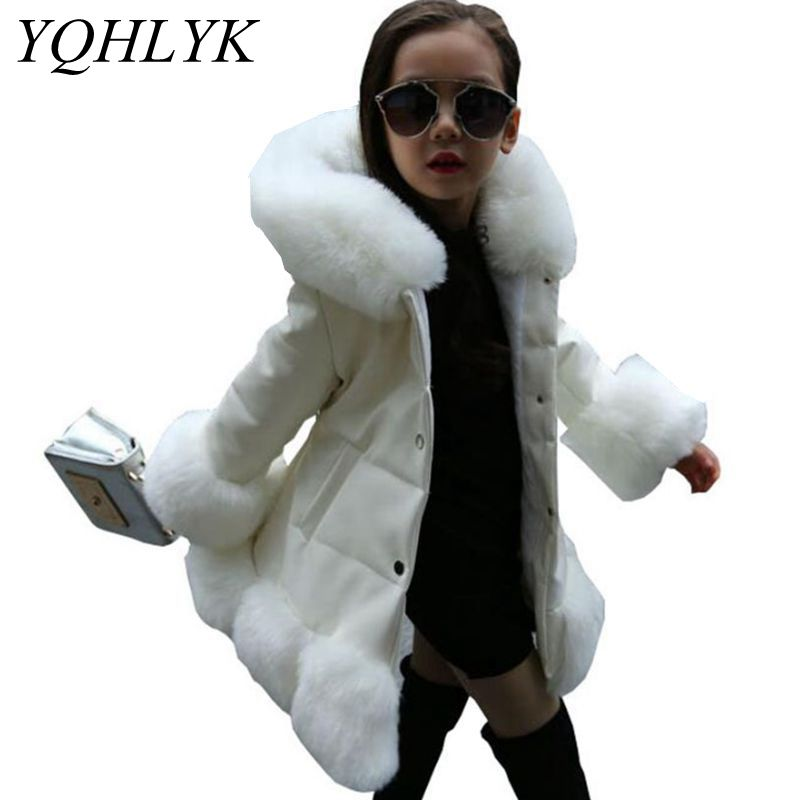 New Fashion Winter Cotton Girls Coat 2018 Korean Children Hooded Thick Warm Leather Jacket Casual Atmosphere Kids Clothes W127 winter new fashion women coat leisure big yards thick warm cotton cotton coat hooded pure color slim fur collar jacket g2309