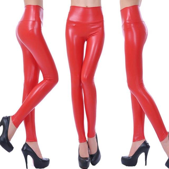 10 Colors Winter Leggings For Women High Waist Black Leather Pencil Pants Autumn Plus Size Skinny Slim Shiny Fleece Trousers 34