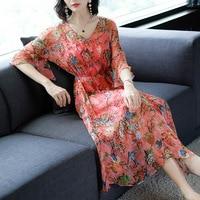 Half Sleeve V neck Floral Printing Silk Chiffon Dress Women Summer New Beach Ruffles Vestido Casual Elegant Dresses Femme Robe
