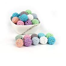 100 stücke Baby Pflege Beißring Häkeln Perlen 16mm Zähne Pflege Schnuller Zahnen Perlen Zahnen Holz Rasseln Spielzeug Pflege Geschenk