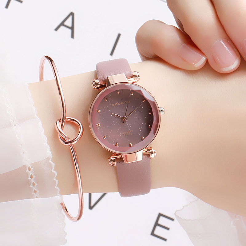 DOUKOU New Brand Mori Girl Watch Indie Pops Women Quartiz Watch Wristwatch Fashion Black Star Leather Lady Watch For Woman