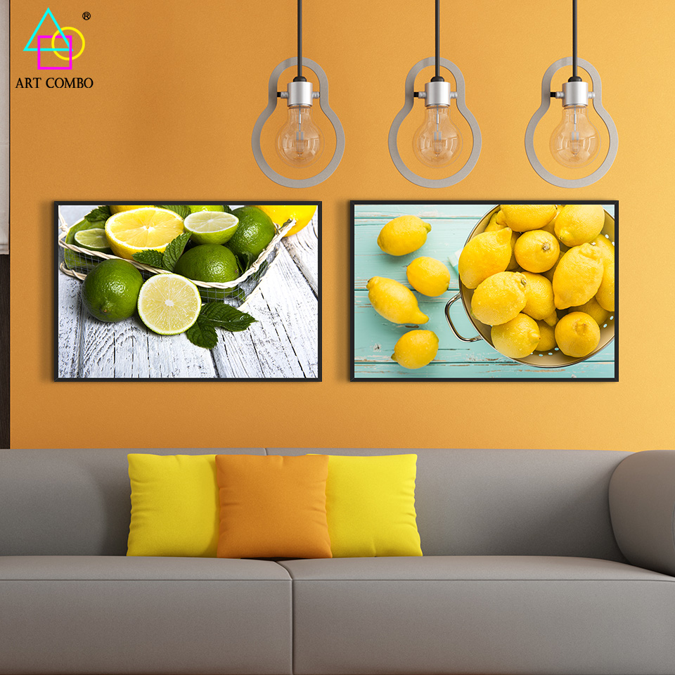 Modern Canvas Painting Fresh Green And Yellow Lemon Tasty Tea Wall ...