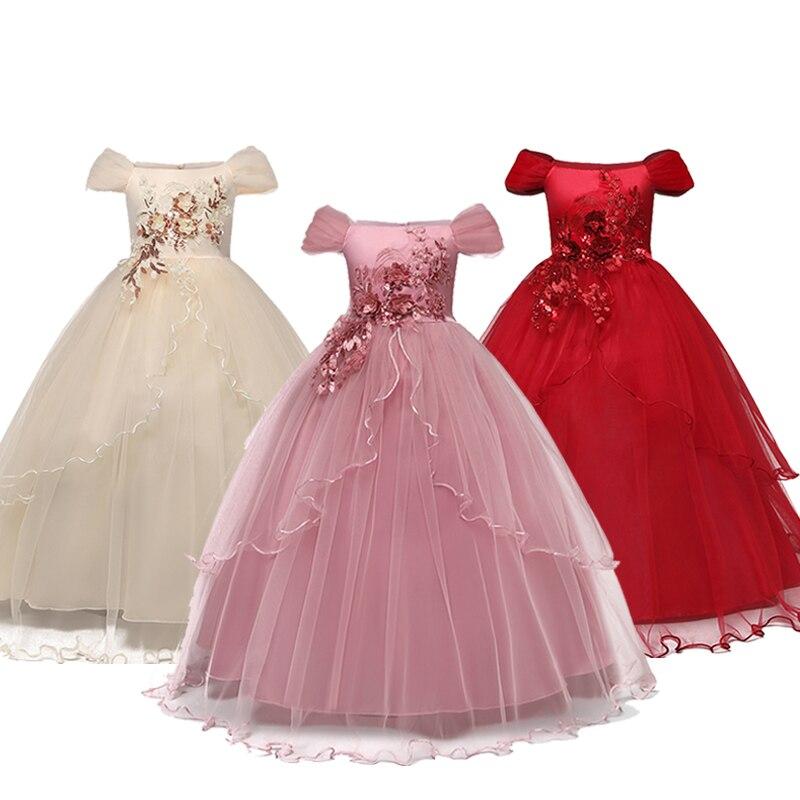 Kid Dresses For Girls Wedding Elegant Flower Princess Formal Long Gown Baby Girl Christmas Dress Vestido Infantil 6 12 14 Years