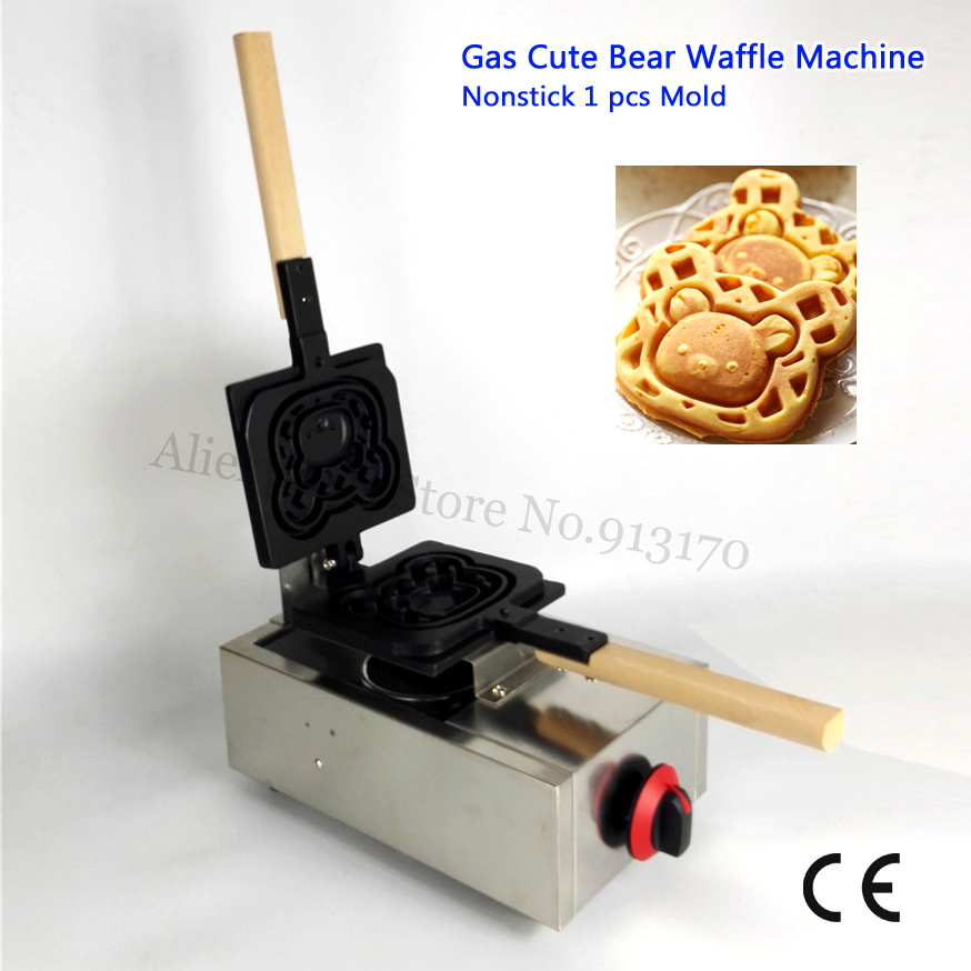 Non-stick Gas Waffle Baker Cute Bear Mould Stainless Steel Carton Waffle Machine LPG Power cute bear shaped stainless steel pendant titanium
