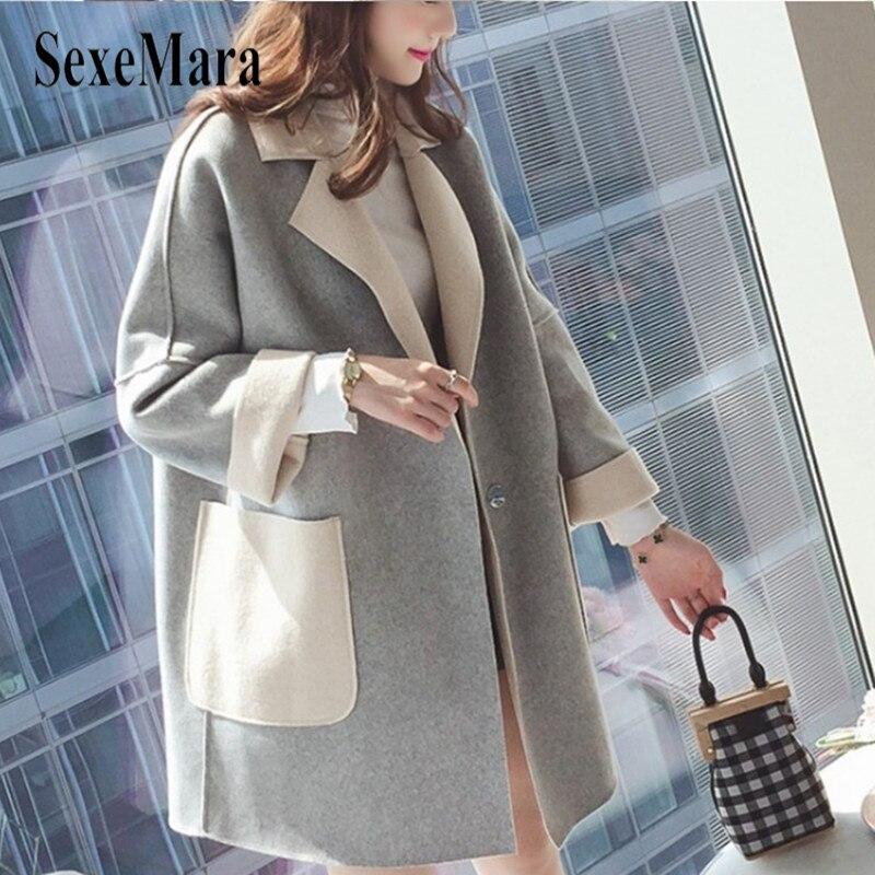 face La Hiver Bleu gris 2018 Style Version Longue Automne Manteau Lâche Double Section Femelle kaki Coréenne Nouveau Et Féminine Nizi De Laine HRqaOE