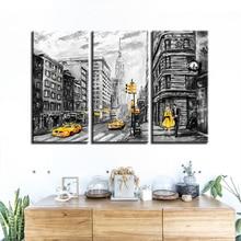Cópias da lona Arte Da Parede Poster Imagens Abstratas 3 peças Rua Nova Iorque Táxi Amarelo Carro Pinturas Decoração de Casa Modular