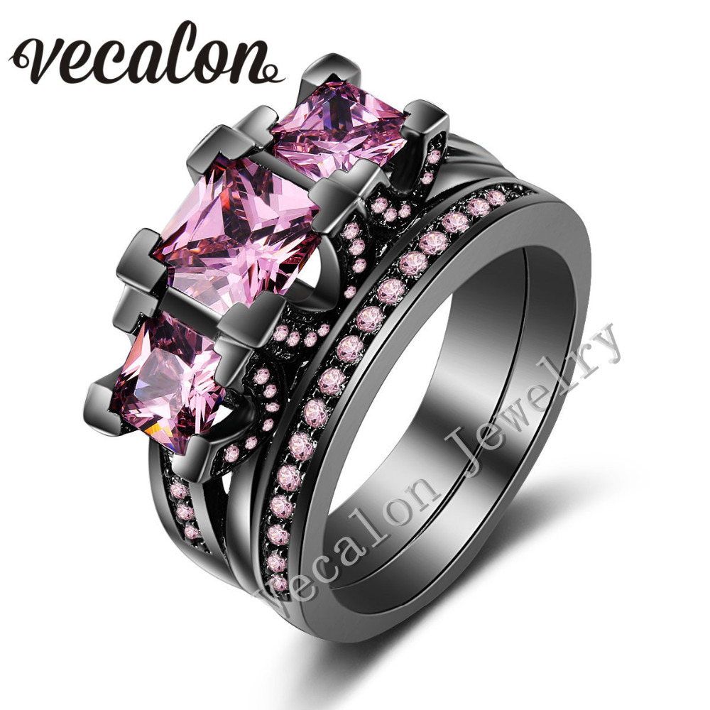 vecalon black gold filled women engagement wedding band ring set pink stone 5a zircon 925 sterling - Pink And Black Wedding Ring Set