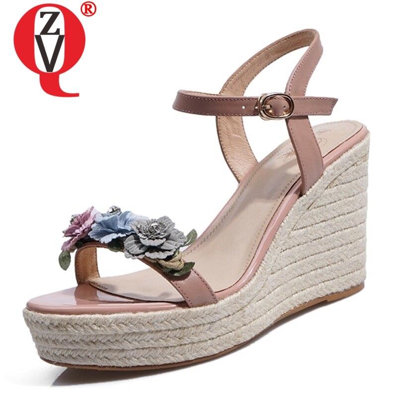 ZVQ schuhe frau sommer neue mode super hohe keile plattform frau sandalen außerhalb handarbeit aus echtem leder blume damen schuhe-in Hohe Absätze aus Schuhe bei  Gruppe 1