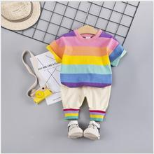 2019 New Summer Baby Girls Clothing Sets Kids Children Clothes Suits Striped rainbow T Shirt  Shorts Infant Toddler Casual Suit db7330 dave bella summer baby boy s striped clothing sets children infant toddler suit kid s high quality clothes