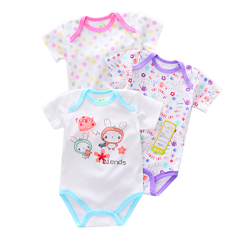 2017 Sale Summer Baby Bodysuit Fantasia Infantil Baby Girl Clothes 3 Pcs/lot Rabbit Pattern Short Sleeve Bodysuit Baby Clothing