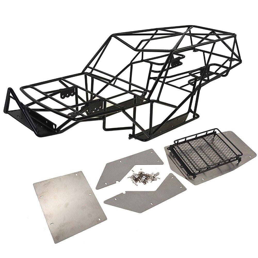 RCAIDONG 1/10 corps de cadre de Cage de rouleau en métal avec des feuilles de métal de galerie de toit pour la chenille axiale de bricolage de roche de voiture de RC de Wraith
