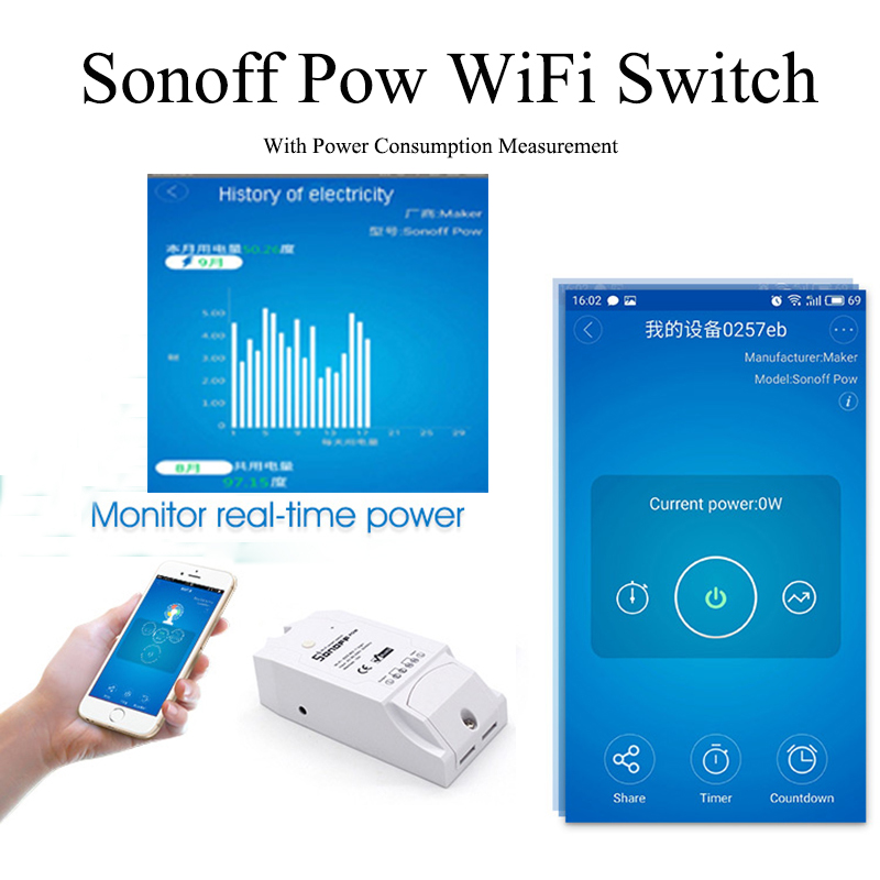 Itead Sonoff Pow Wifi Smart Home télécommande sans fil interrupteur d'alimentation avec moniteur de mesure de la consommation d'énergie en temps réel 16A